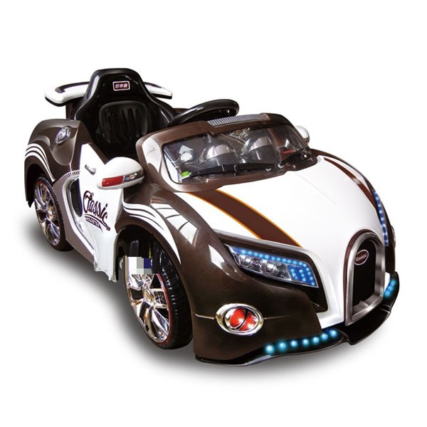 Электромобиль Bugatti 12v10AH на радио управляемый МП3 бело-коричн