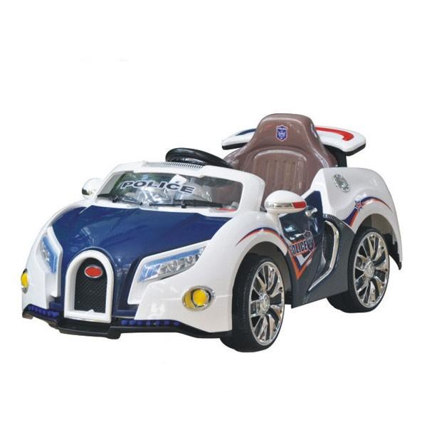 Электромобиль Bugatti 12v10AH на радио управляемый МП3 бело-синяя