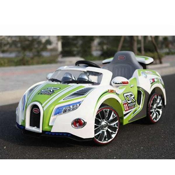 Электромобиль Bugatti 12v10AH на радио управляемый МП3 бело-зелёная