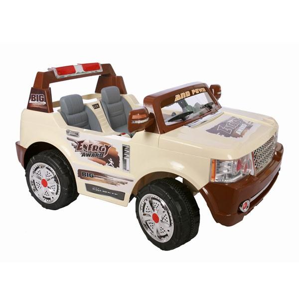 Электромобиль 2-х местный Land Rover BIG 24v 2 аккумул по 12V7AH   радио управляемый бежевый