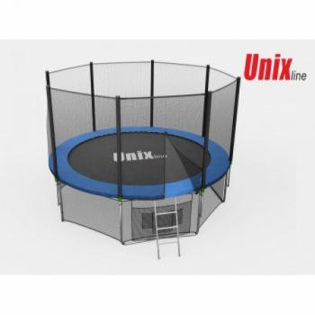 Дачный Пружинный Батут Unix 10 ft с сеткой и лестницей Blue