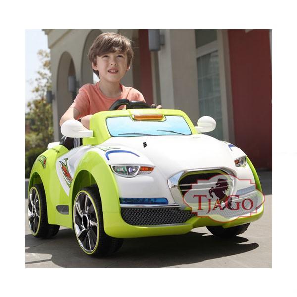 Электромобиль Cabrio два мотора 6v7AH радио управляемый бело-зелёный