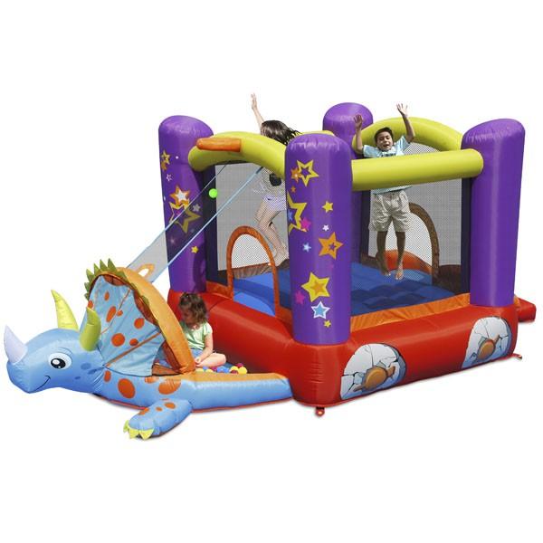 Детский надувной Батут HAPPY HOP с горкой Динозаврик 9122